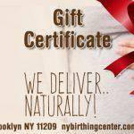 Birthing center gift certificates